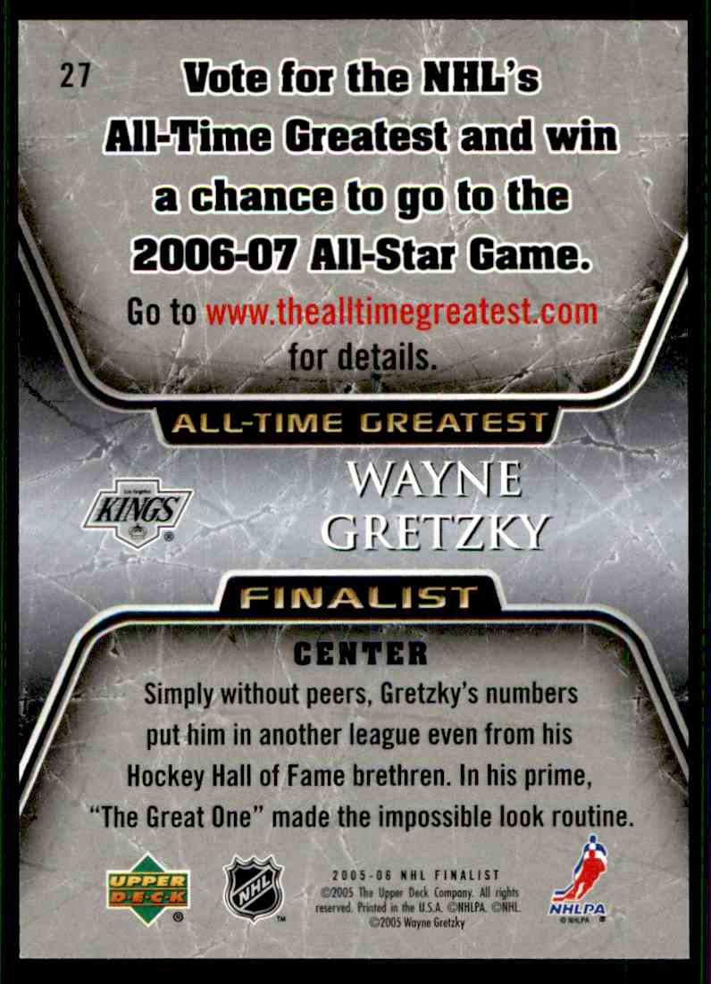 2005-06 Upper Deck All-Time Greatest Wayne Gretzky #27 card back image
