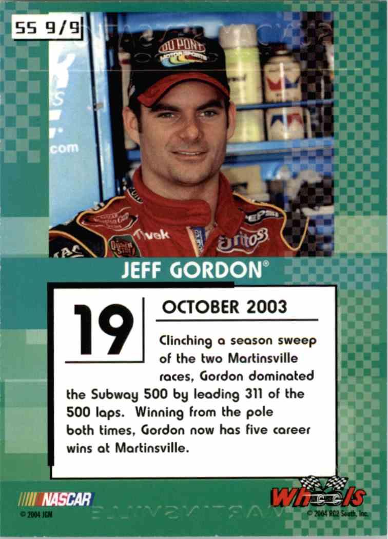 2004 Wheels High Gear Sunday Sensation Jeff Gordon #SS9 card back image