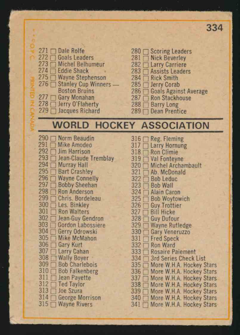 1972-73 0-Pee-Chee Checklist Err - UnMarked - Vg #334A card back image