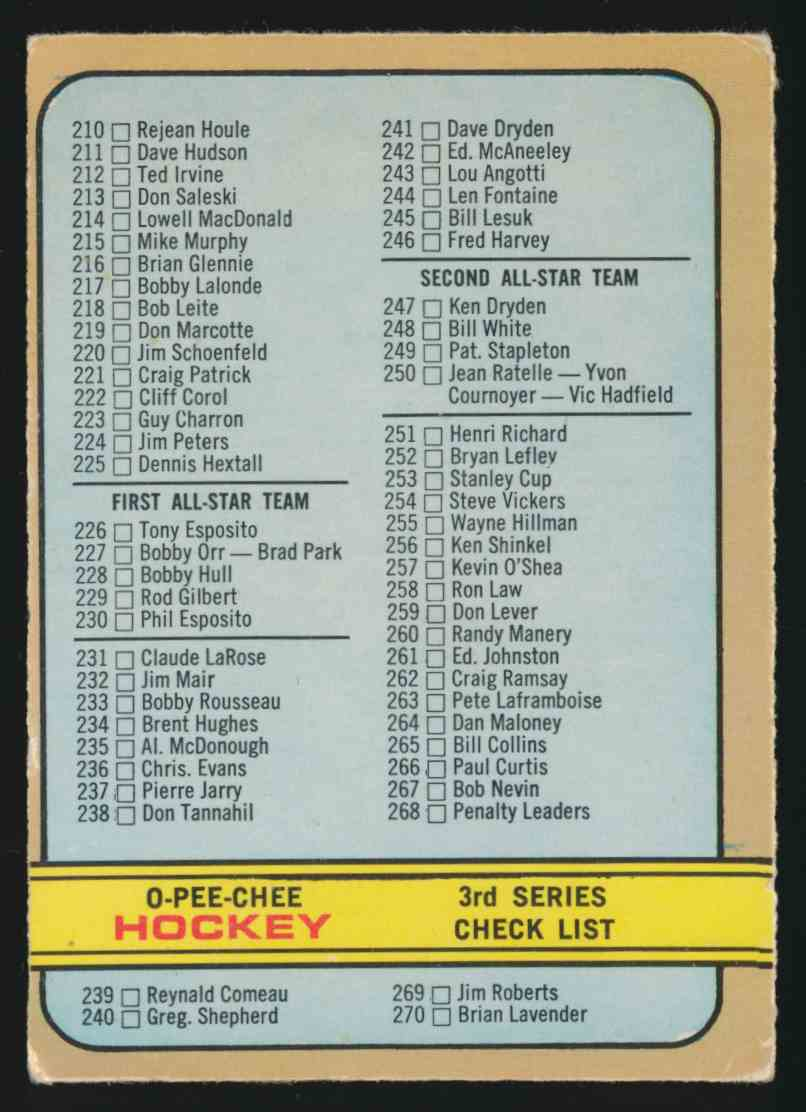 1972-73 0-Pee-Chee Checklist Err - UnMarked - Vg #334A card front image