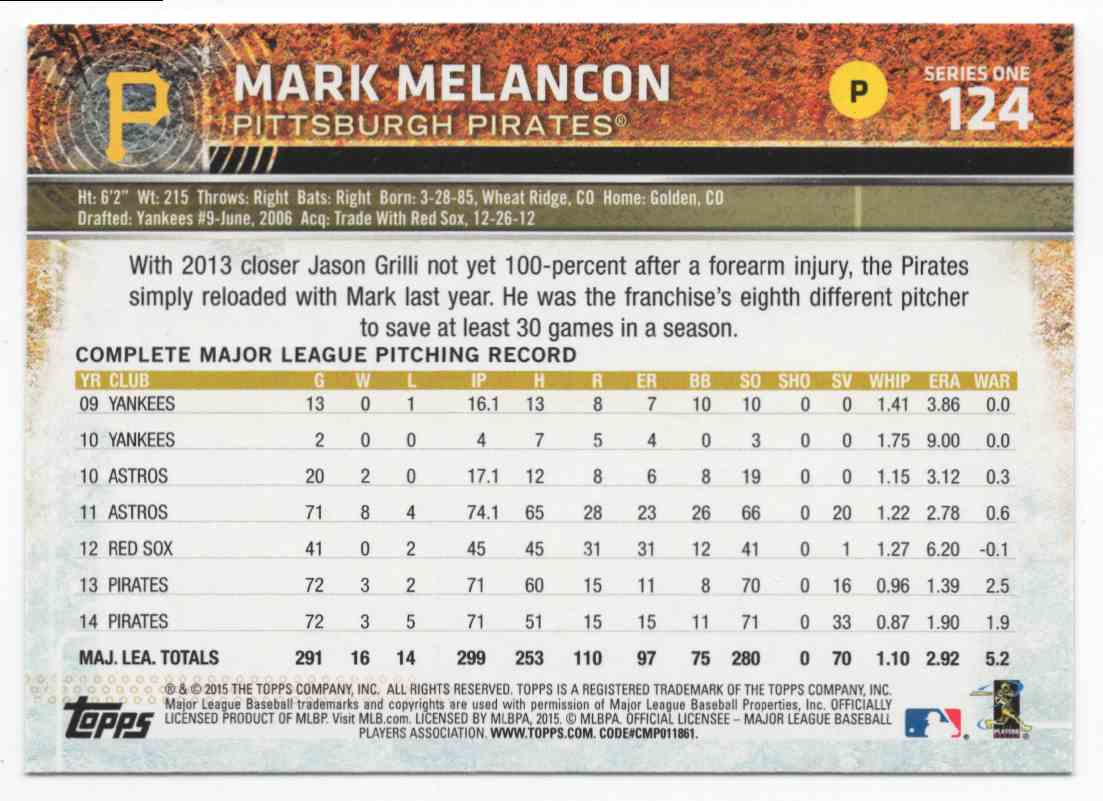 2015 Topps Mark Melancon #124 card back image