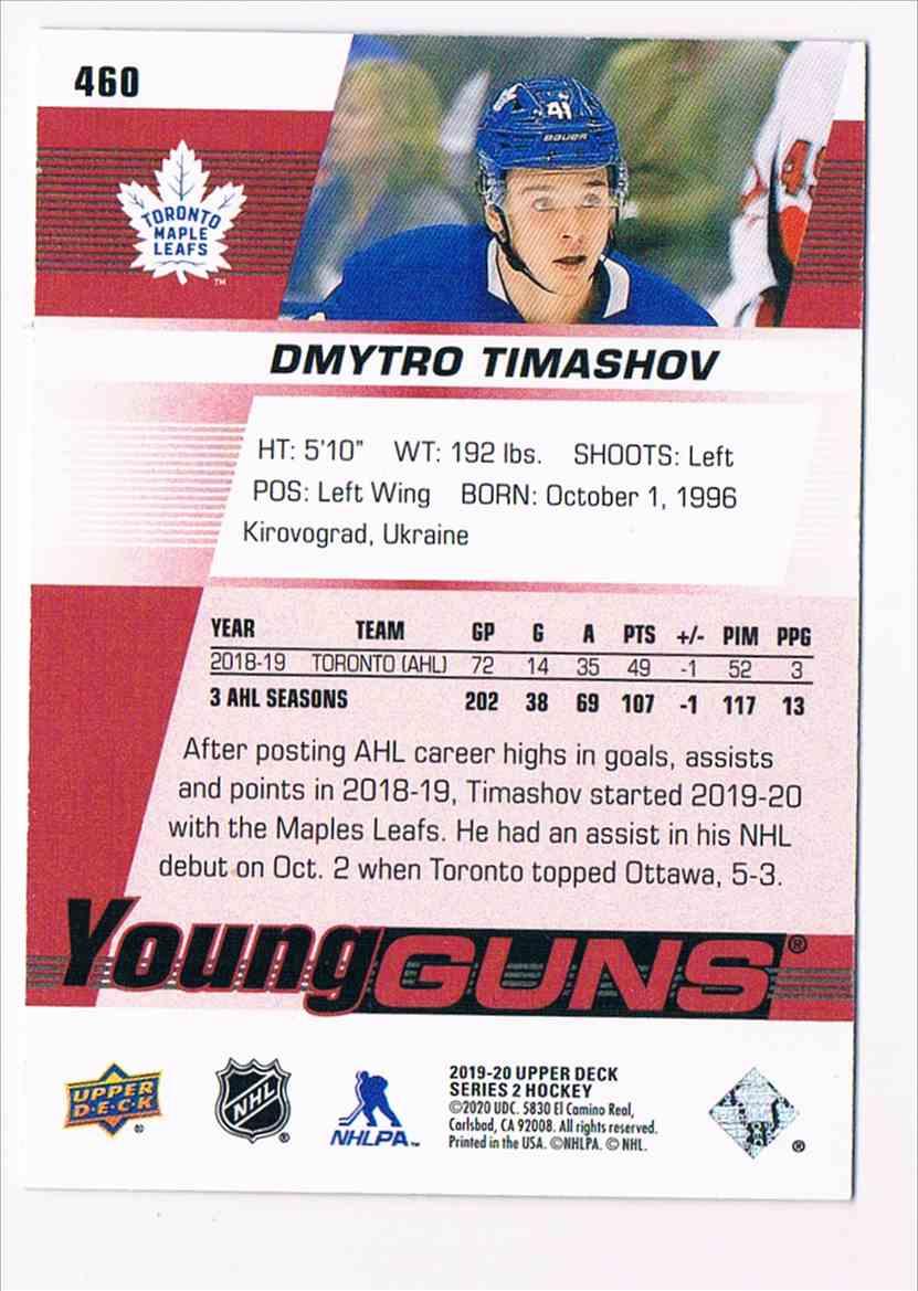 2019-20 Upper Deck Young Guns UD Exclusives Dmytro Timashov #460 card back image
