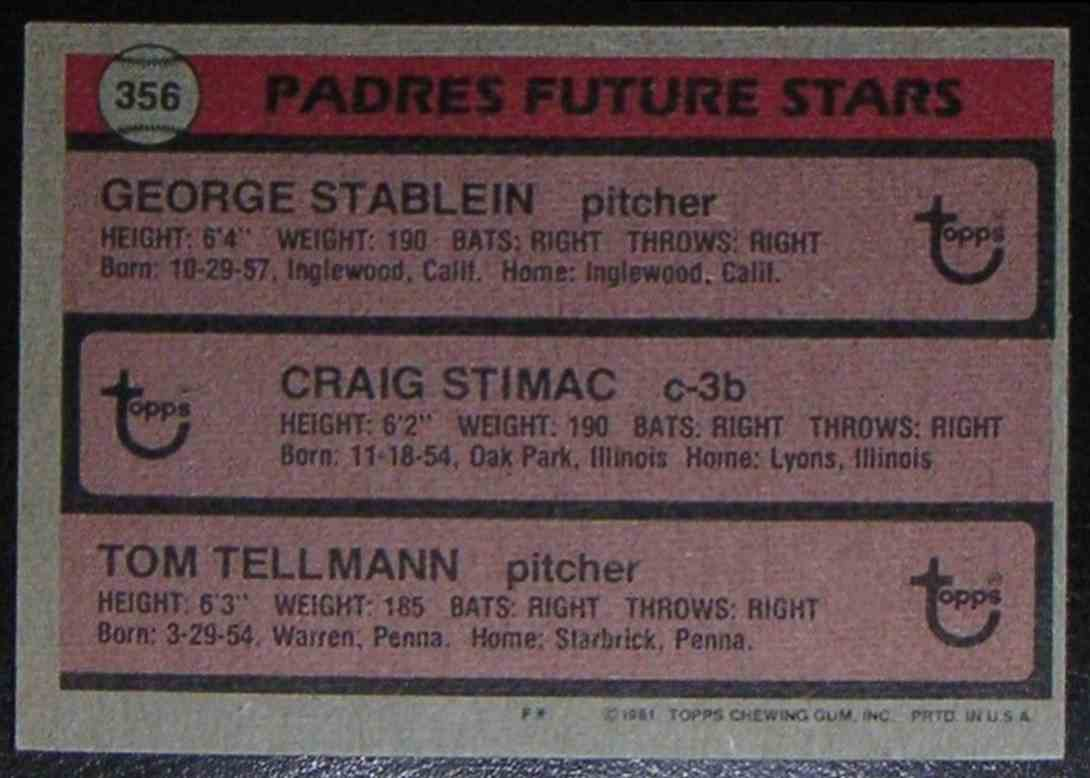 1981 Topps Padres Future Stars Craig Stimac George Stablein Tom Tellmann #356 card back image