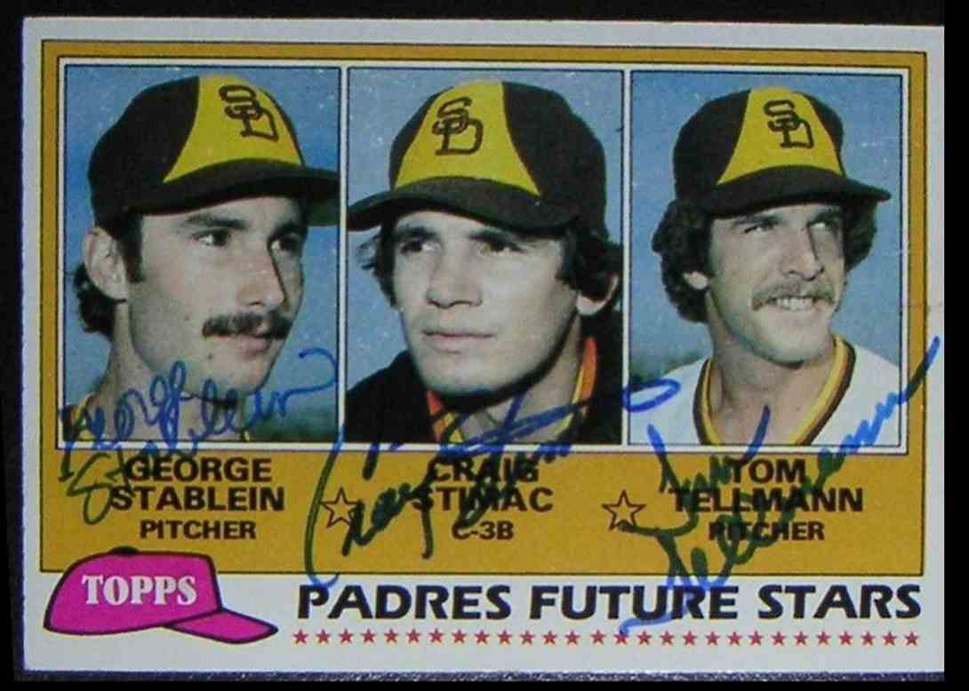 1981 Topps Padres Future Stars Craig Stimac George Stablein Tom Tellmann #356 card front image