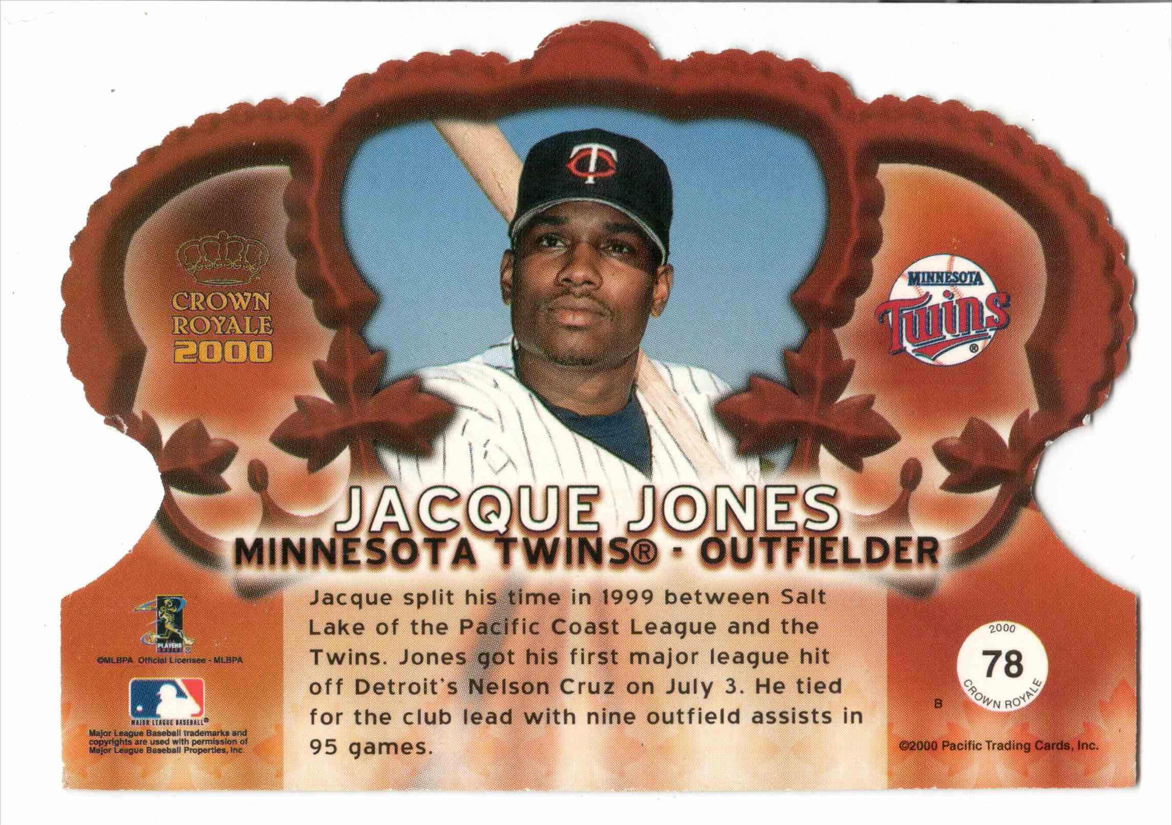 2000 Pacific Crown Royale Jacque Jones #78 card back image