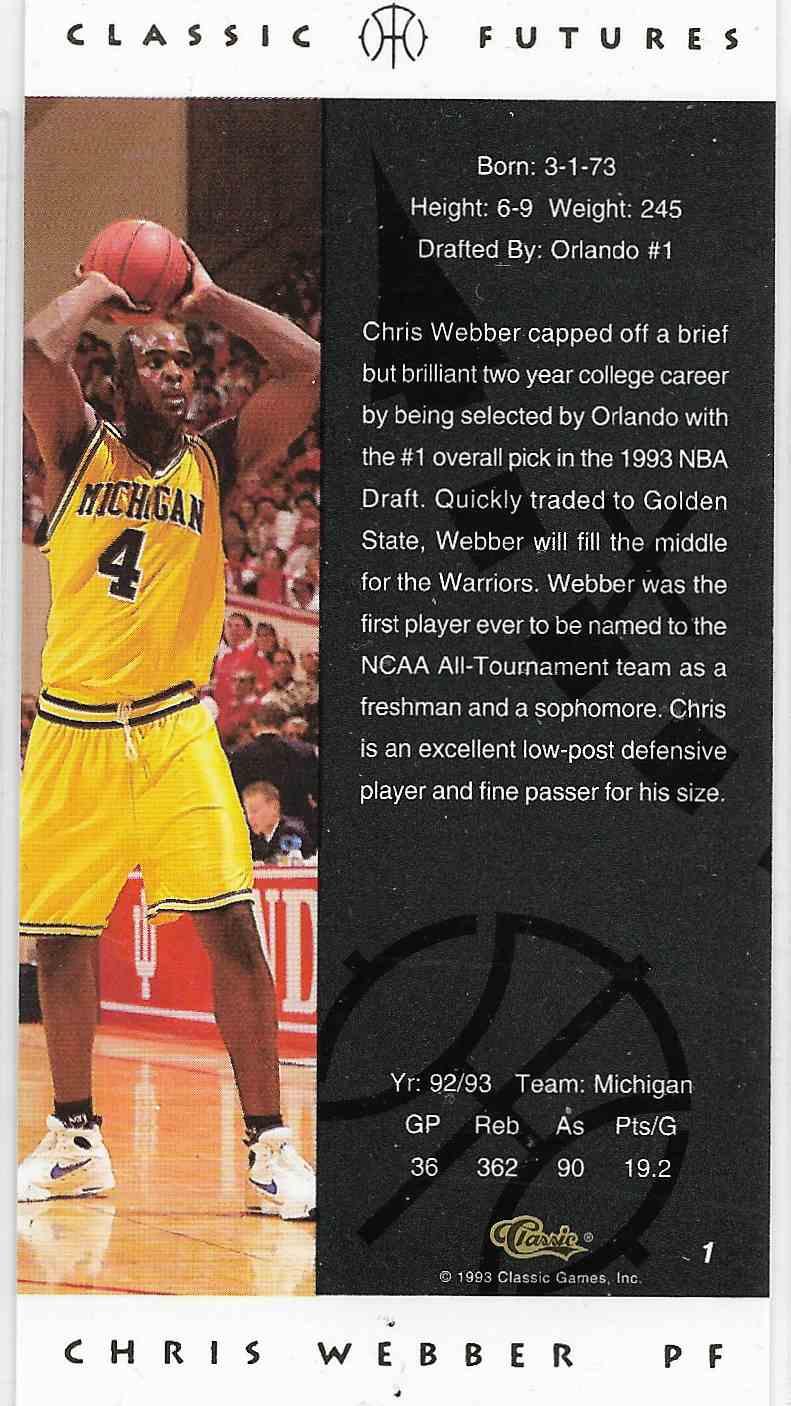 1993-94 Classic Futures Chris Webber #1 card back image
