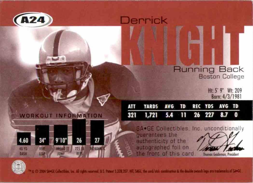 2004 Sage Autographs Bronze Derrick Knight #A24 card back image