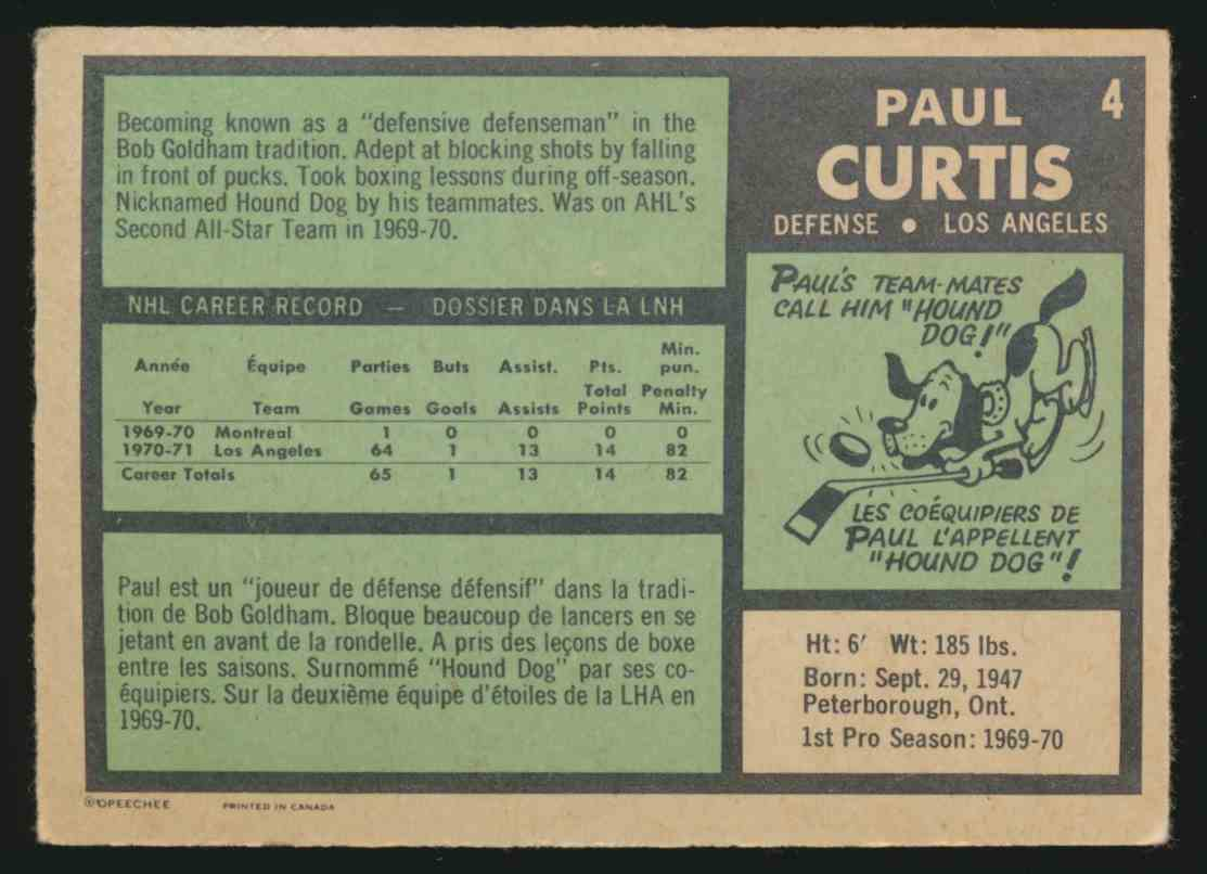 1971-72 O-Pee-Chee Paul Curtis #4 card back image