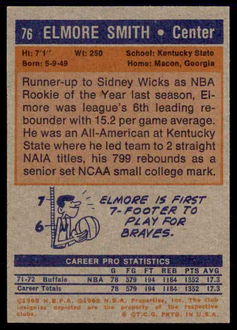 1972-73 Topps Elmore Smith #76 card back image