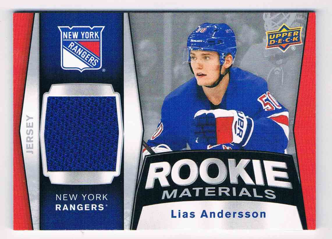 2018-19 Upper Deck Rookie Materials Lias Andersson #RM-LA card front image