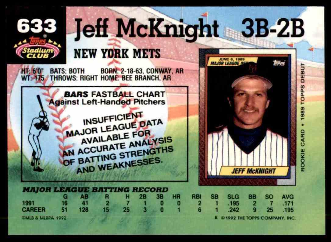 1992 Stadium Club Jeff McKnight #633 card back image