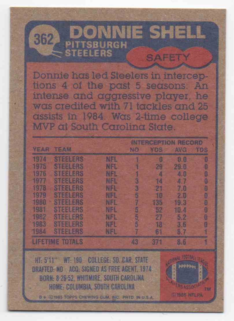 1985 Topps Donnie Shell #362 card back image