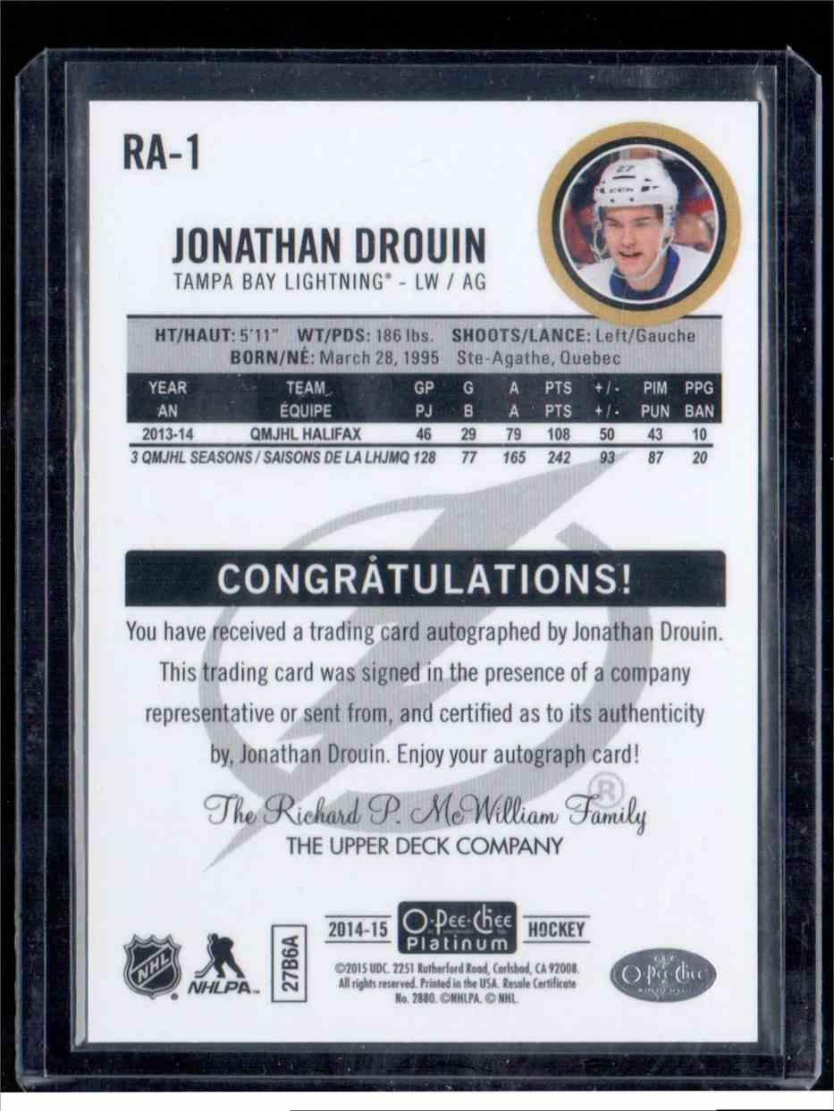 2014-15 O-Pee-Chee Platinum Rookie Autograph Jonathan Drouin #RA-1 card back image