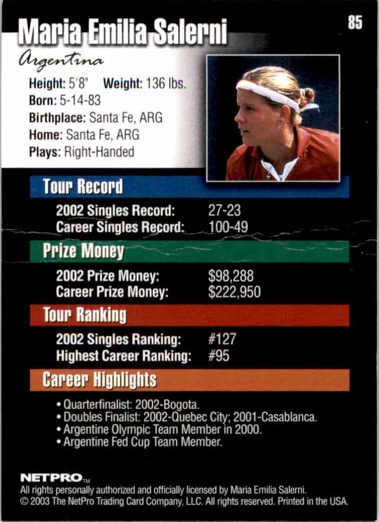 2003 NetPro Maria Emilia Salerni RC #85 card back image