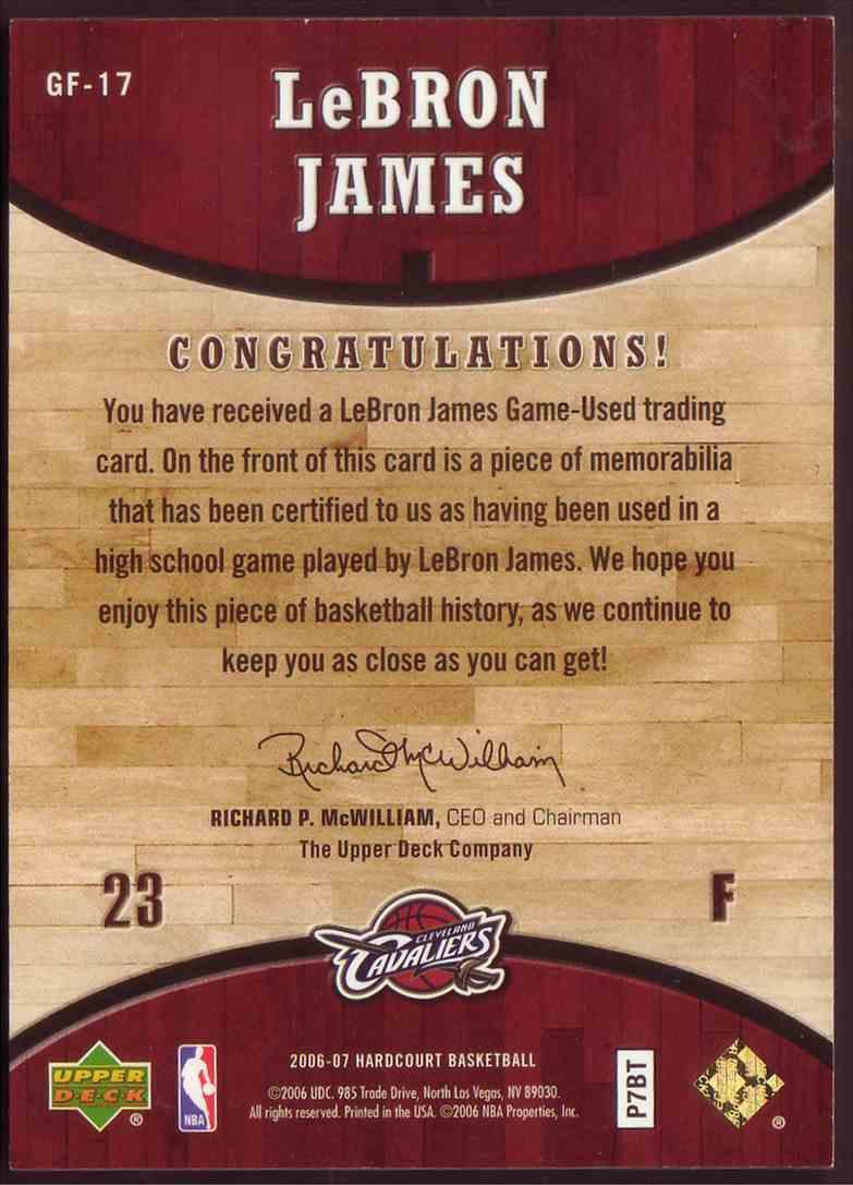 2006-07 Upper Deck Hardcourt LeBron James Floor LeBron James #GF-17 card back image