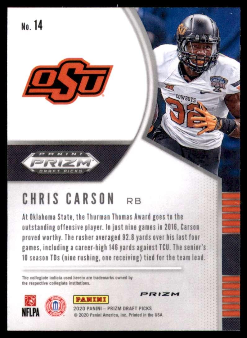 2020 Panini Prizm Draft Picks Prizms Silver Chris Carson #14 card back image