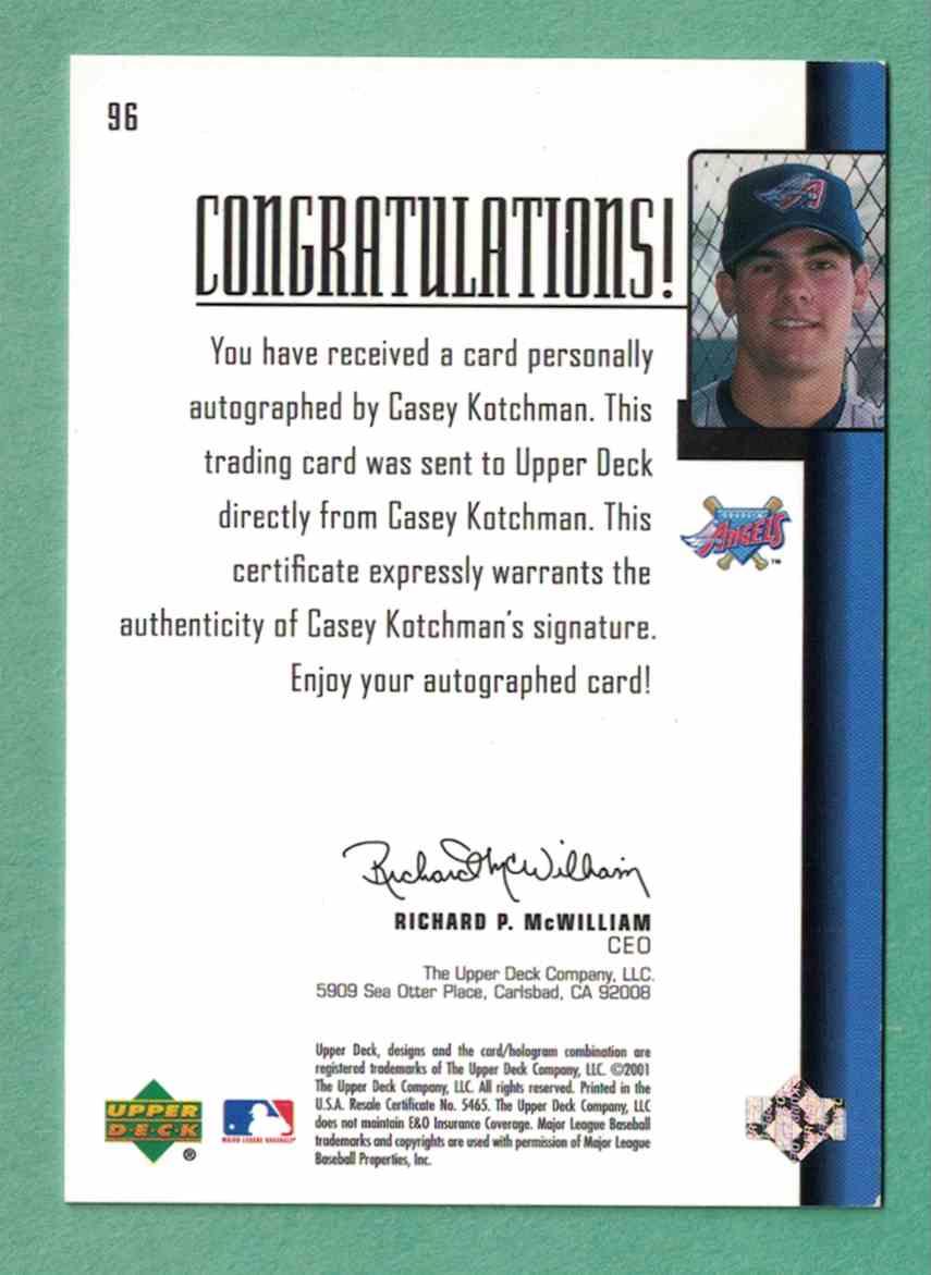 2001 Upper Deck ProspUpper Deck Propect Premieres Casey Kotchman - Autographed Signed /1000 EX #96 card back image