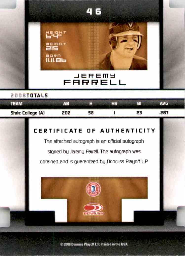 2008 Donruss Elite Extra Edition Signature Status Gold Jeremy Farrell #46 card back image