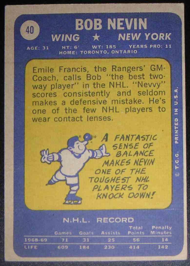 1969-70 O-Pee-Chee Bob Nevin #40 card back image