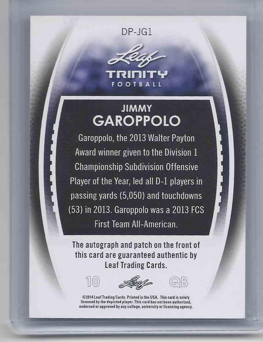 2014 Leaf Trinity Jimmy Garoppolo #DP-JG1 card back image