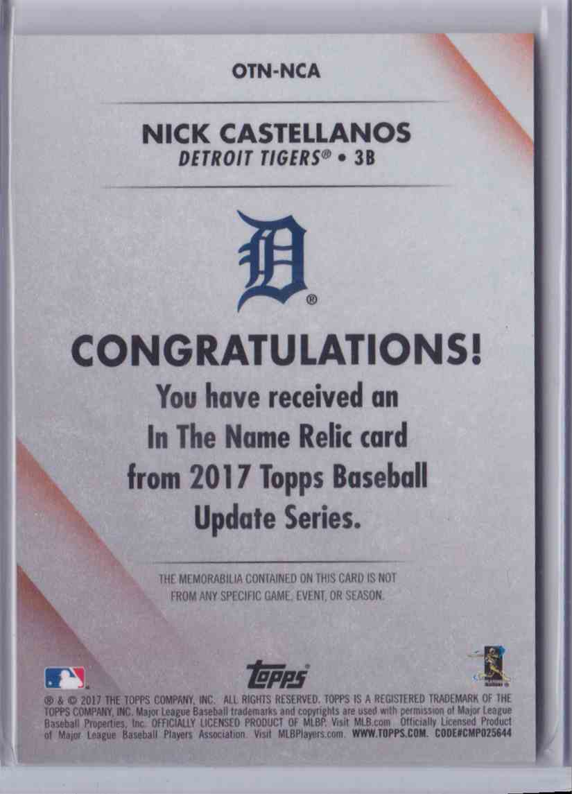 2017 Topps Update In The Name Relic Nick Castellanos #OTN-NCA card back image