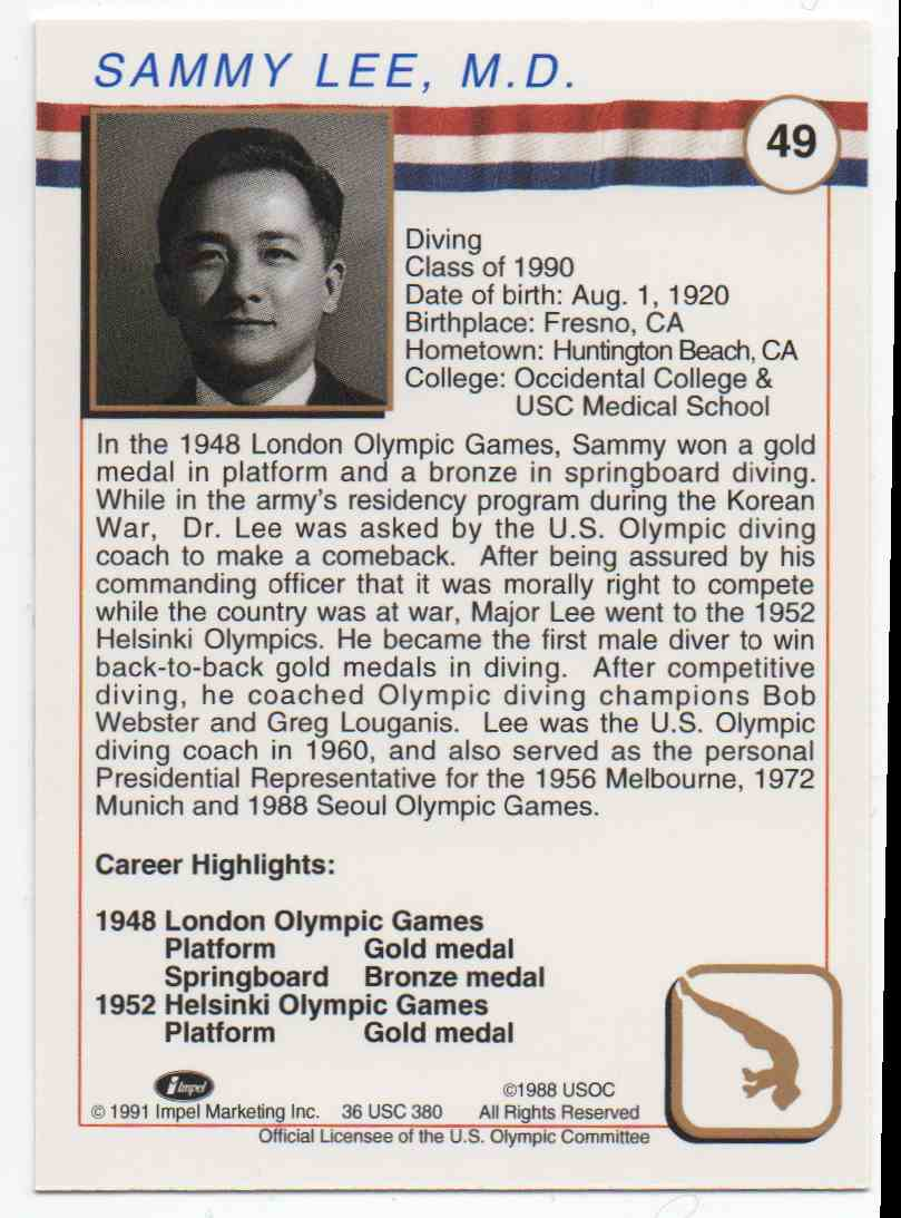 1991 Impel U.S. Olympic Hall Of Fame Sammy Lee #49 card back image