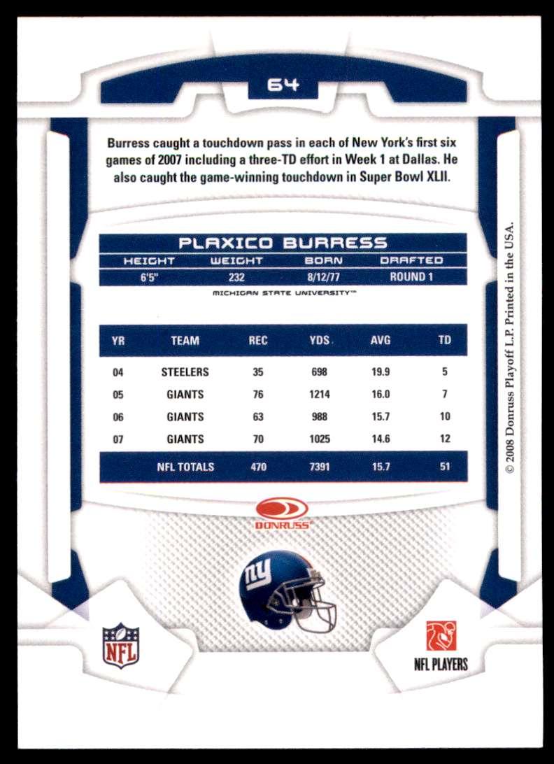 2008 Leaf Rookies And Stars Plaxico Burress #64 card back image