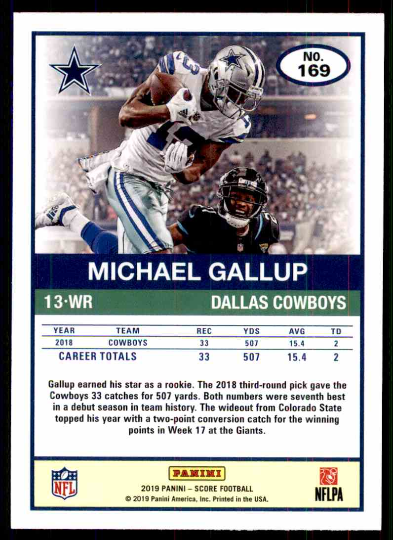 2019 Score Michael Gallup #169 card back image