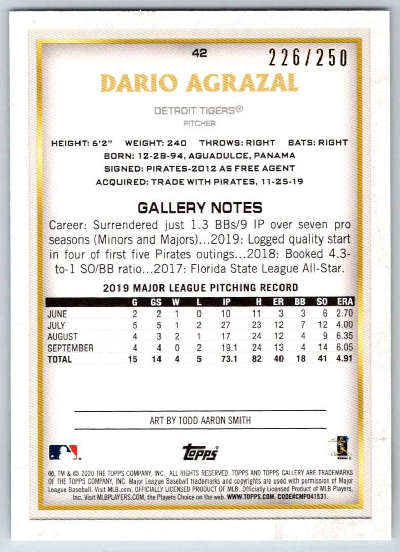 2020 Topps Gallery Private Issue Dario Agrazal #42 card back image
