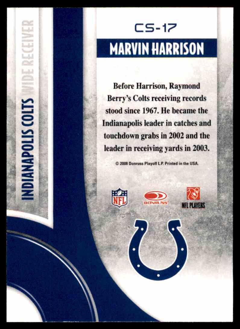 2008 Donruss Threads Century Stars Marvin Harrison #CS-17 card back image