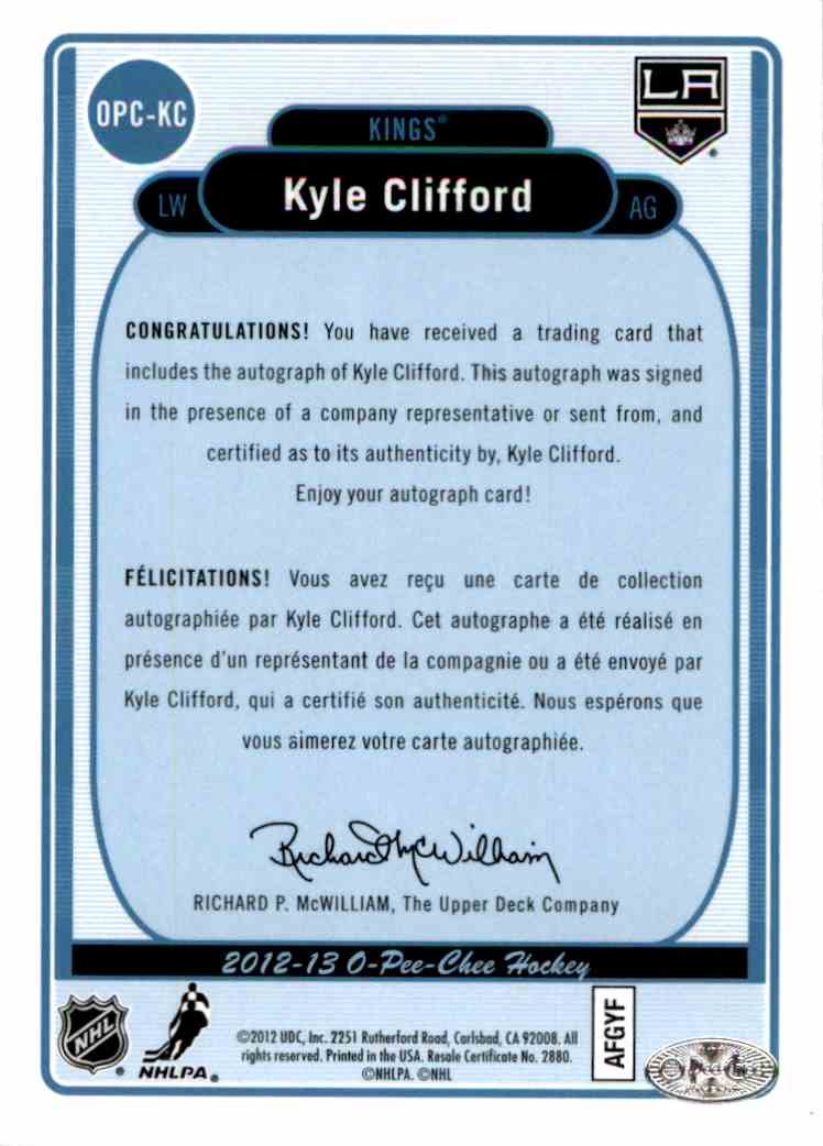 2012-13 O-Pee-Chee Signatures Kyle Clifford #OPC-KC card back image