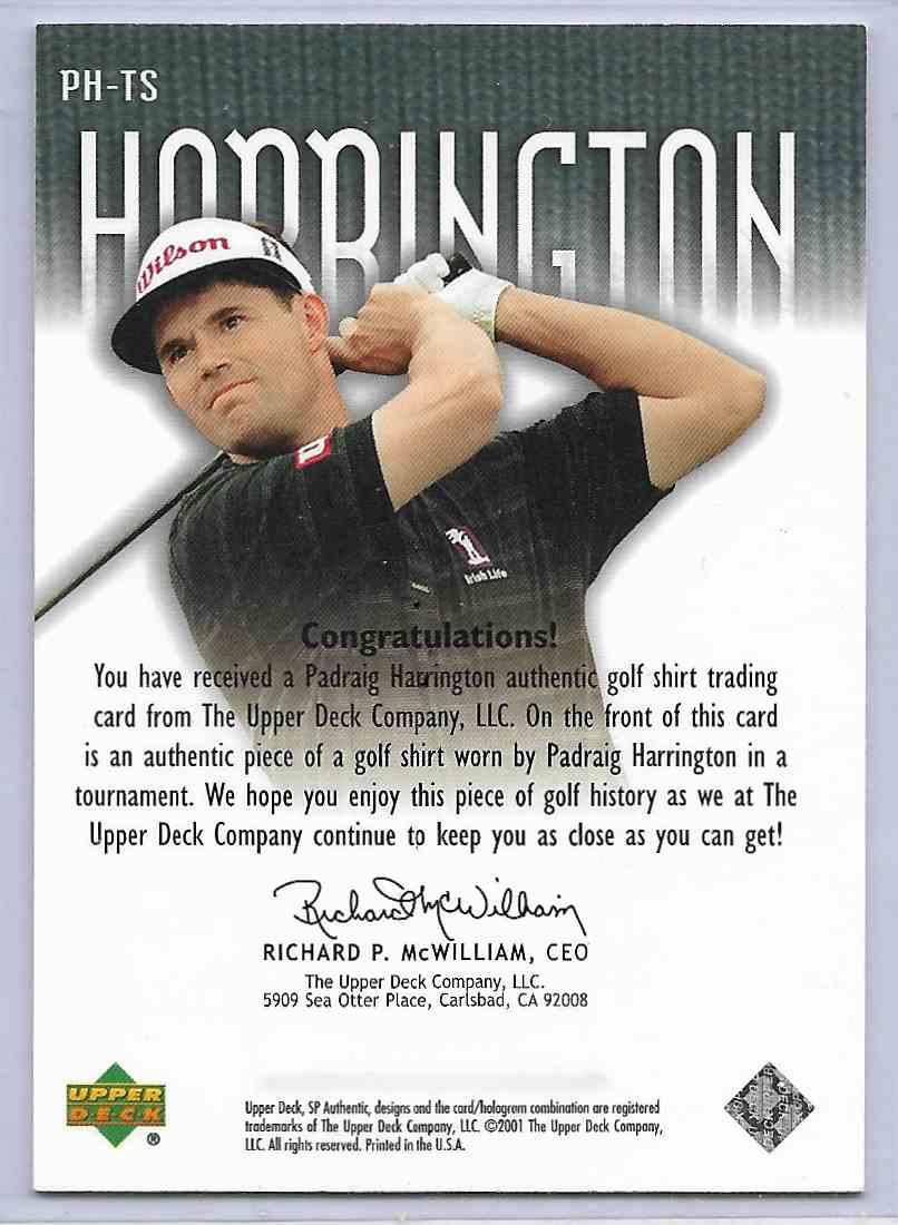 2001 SP Authentic Padhaig Harrington #PH-TS card back image