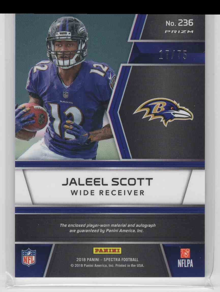 2018 Panini Spectra Rookie Patch Autographs Jaleel Scott #236 card back image