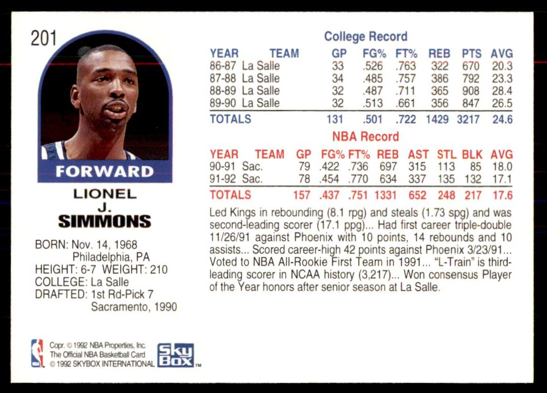 8 Lionel J Simmons trading cards for sale