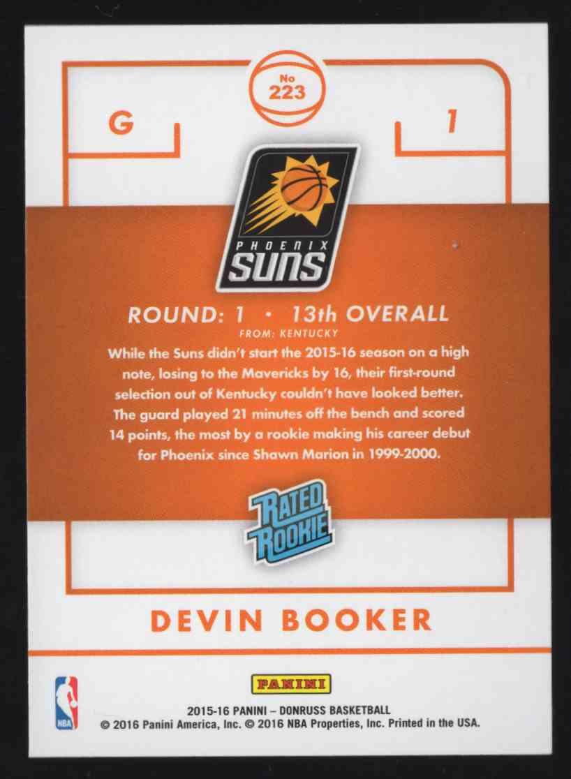2015-16 Donruss Devin Booker Rr #223 card back image