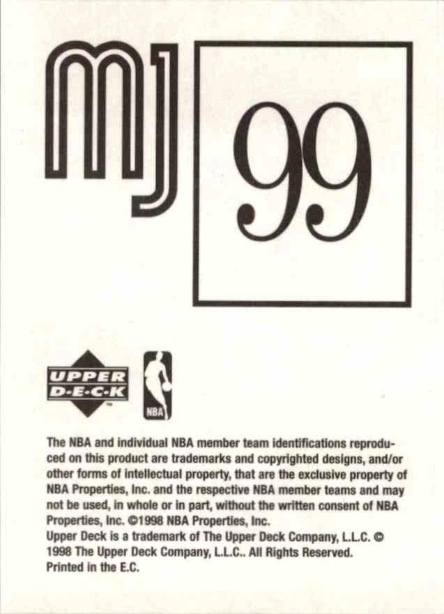 1998-99 Upper Deck Michael Jordan You Tube Michael Jordan #99 card back image