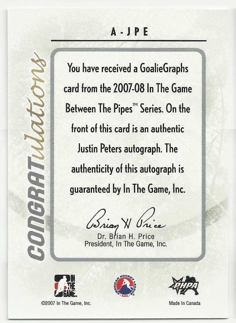 2007-08 In The Game Heroes And Prospects GoalieGraphs Justin Peters #A-JPE card back image