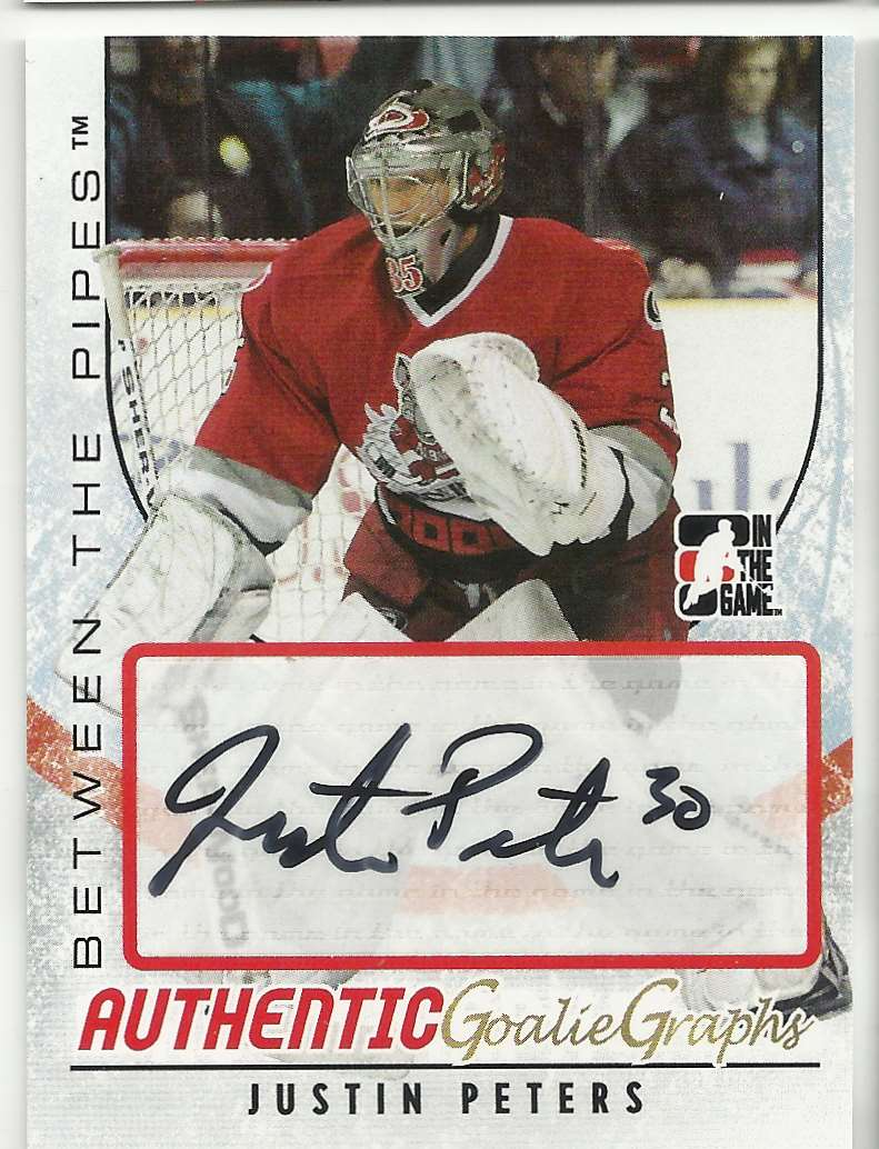 2007-08 In The Game Heroes And Prospects GoalieGraphs Justin Peters #A-JPE card front image