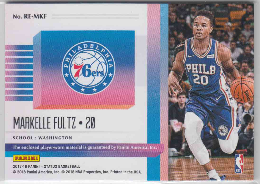 2017-18 Panini Status Rookie Essentials Markelle Fultz #RE-MFL card back image