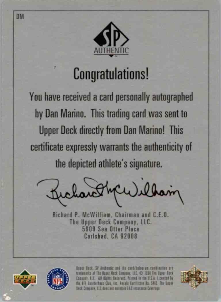 1999 SP Authentic Dan Marino #DM card back image