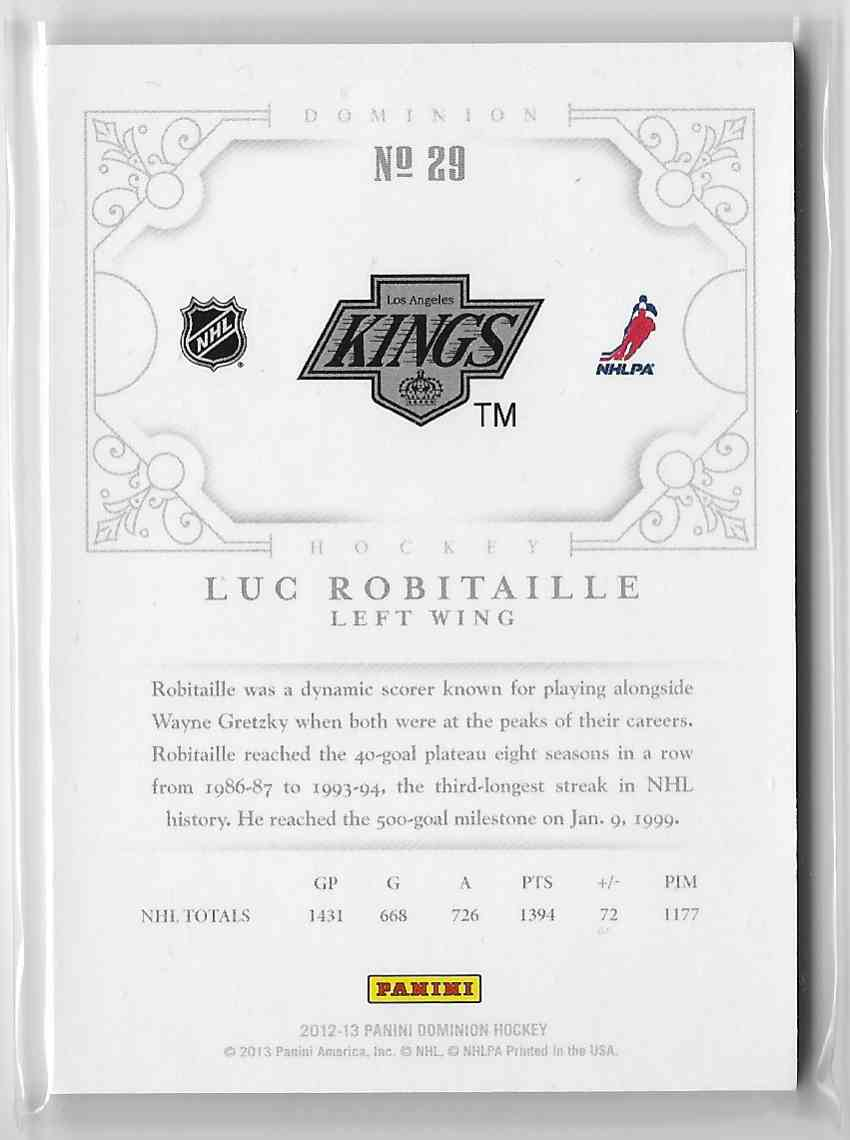 2012-13 Panini Dominion Luc Robitaille #29 card back image