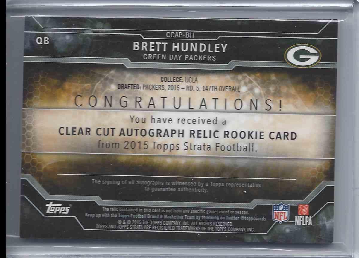 2015 Topps Strata Brett Hundley #CCA-BH card back image