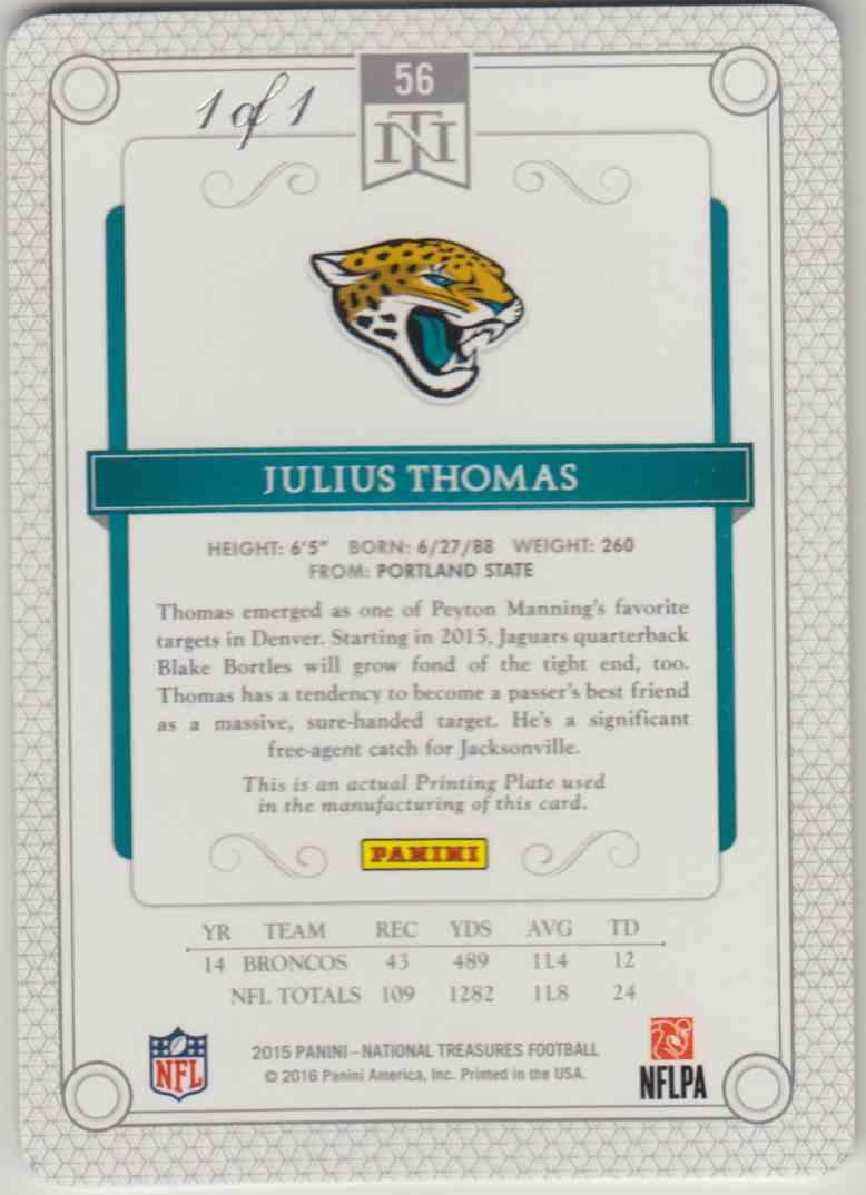 2015 Panini National Treasures Pringting Plate Julius Thomas #56 card back image