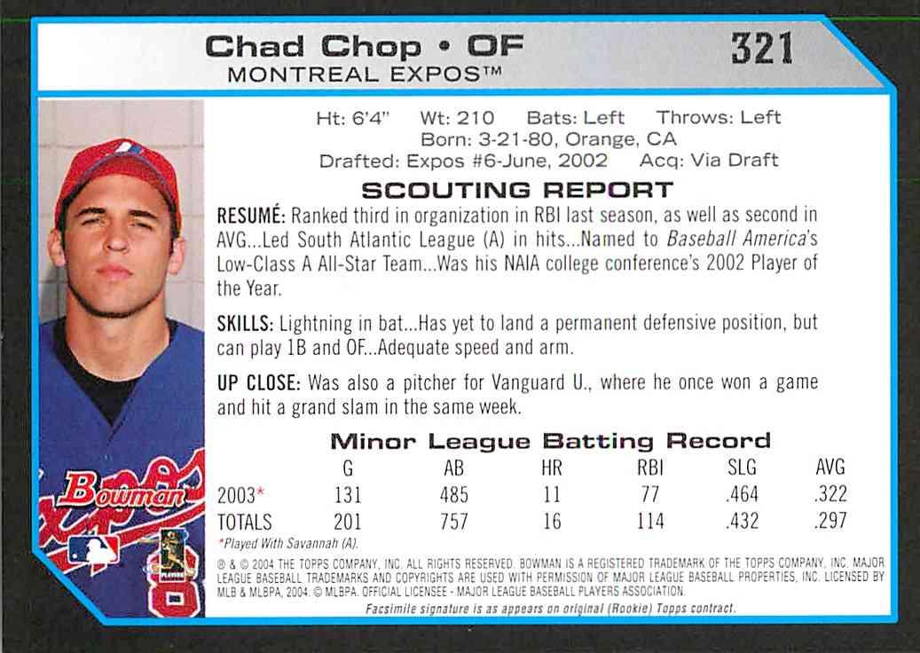 2004 Bowman 1St Edition Chad Chop #321 on Kronozio