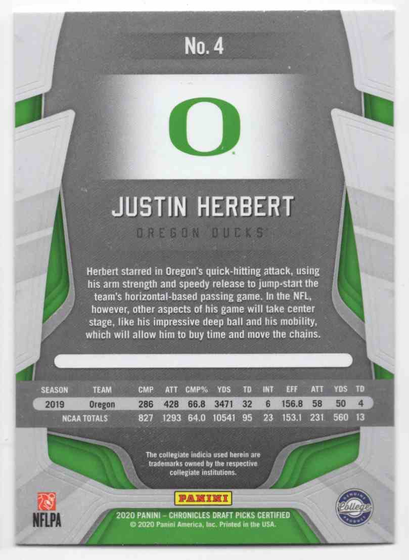 2020 Certified Draft Picks Justin Herbert #4 card back image