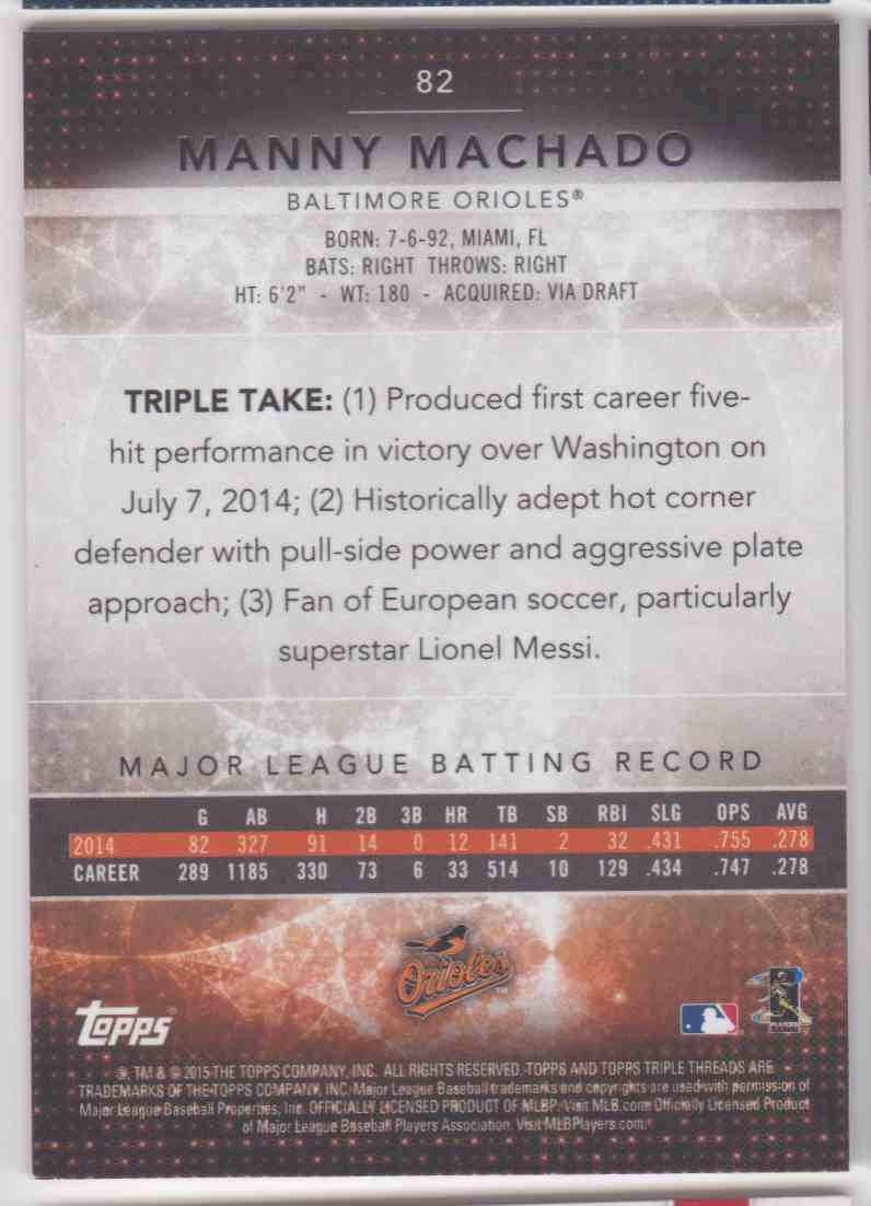 2015 Topps Triple Threads Amethyst Manny Machado #82 card back image
