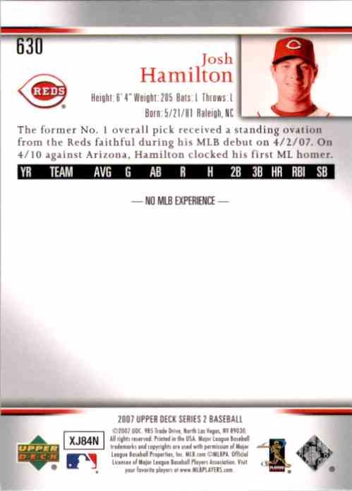 2007 Upper Deck Josh Hamilton (Rc) #630 card back image