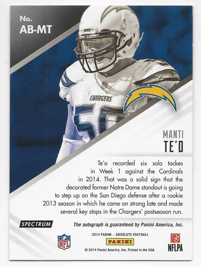 2014 Absolute Absolute Ink Spectrum Gold Manti Te'o #AB-MT card back image