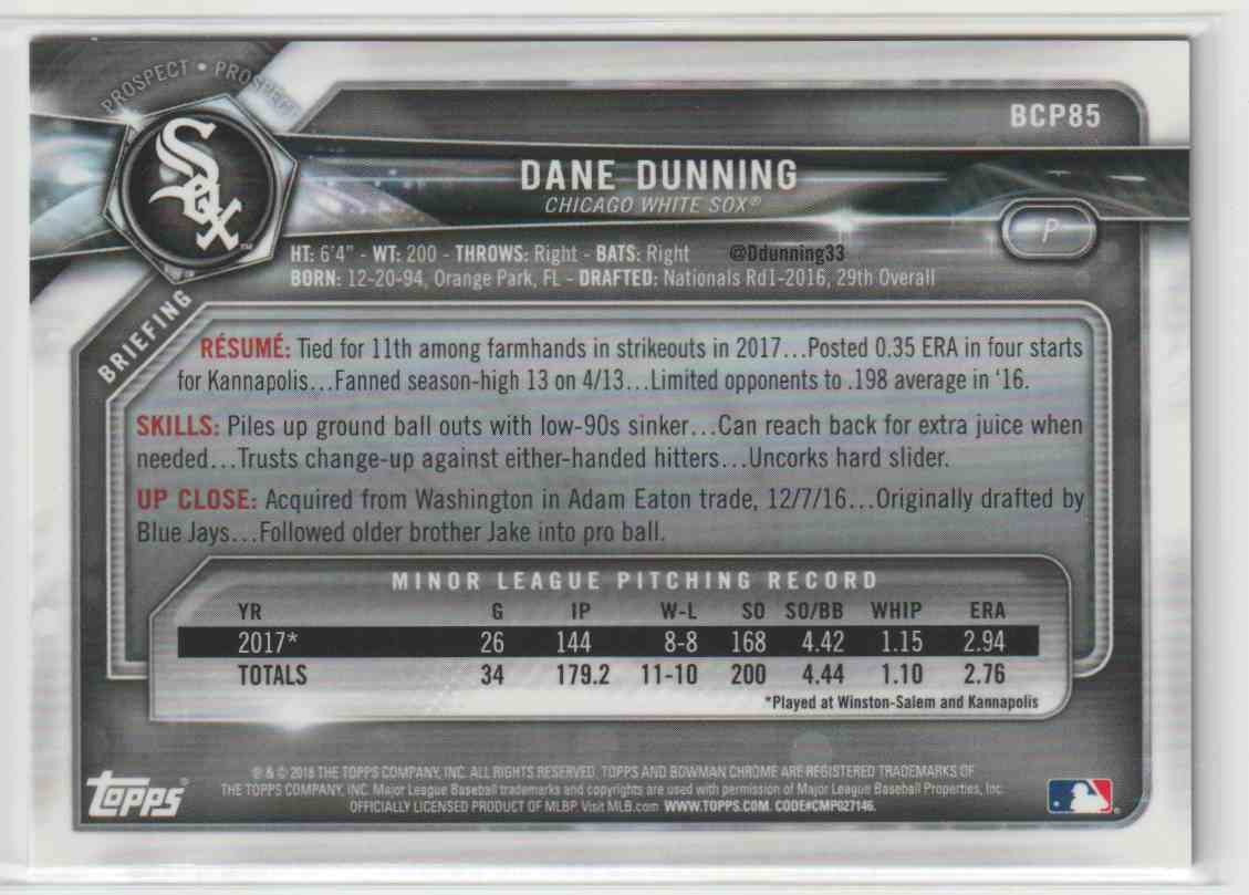 2018 Topps Bowman Dane Dunning #BCP85 card back image