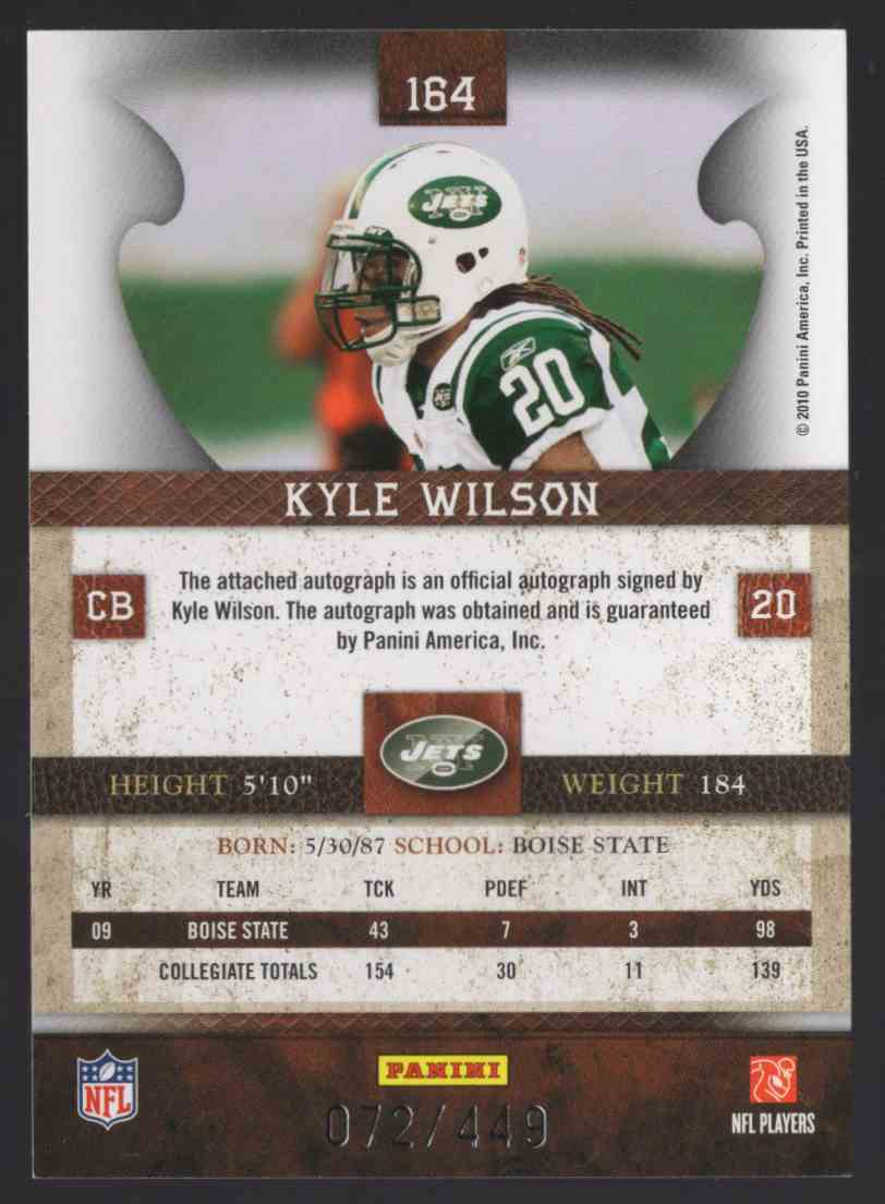 2010 Panini Plates And Patches Kyle Wilson #164 card back image